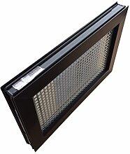 Kellerfenster braun 80 x 50 cm Isolierglas 3.3 mit Schutzgitter, montierter Insektenschutz, 4 Fensterbauschrauben