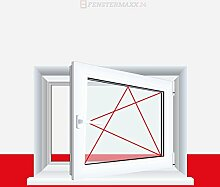 Kellerfenster Kunststoff / PVC Weiß - Dreh / Kipp, Anschlag:DIN Links, Glas:3-Fach, BxH:900x900