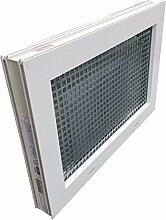 Kellerfenster weiss 80 x 60 cm Isolierglas 3.3 mit Schutzgitter, montierter Insektenschutz, 4 Fensterbauschrauben