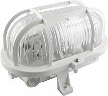 Kellerleuchte/ Dachbodenleuchte/ Kellerlampe/ Wandlampe/ Garagenleuchte/ IP44/ E27-230V/ (Oval-weiß #KL2) (Mit LED Leuchtmittel)