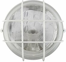 Kellerleuchte/ Dachbodenleuchte/ Kellerlampe/ Wandlampe/ Garagenleuchte/ IP44/ E27-230V/ (Rund-weiß #KL3) (Ohne Leuchtmittel)