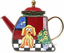 Kelvin Chen Puppy Dog Emaille-Miniatur-Teekanne