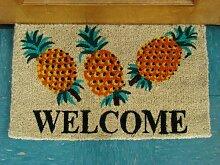 KEMPF Bedruckte Kokosfaser Fußmatte Welcome Ananas