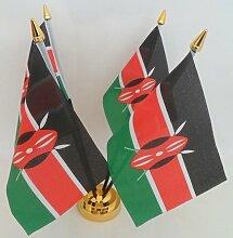 Kenia kenianische 4Flagge Desktop Tisch mit Gold Boden