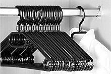 Keplin 20x Premium Kleiderbügel mit Wirbelhaken, schwarz, 40cm brei