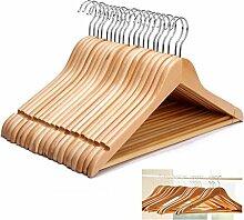 KEPLIN® Holz-Kleiderbügel mit Hosenstange, für Mantel, Anzug, Kleiderschrank, 20 Stück
