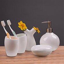 Keramik Accessoires Badezimmer Set, 5 Stück Badezimmer Zubehör, Seife Fach, Dispenser, Zahnbürstenhalter Und Walze