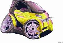 Keramik Becher Koolart Smart Auto gelb