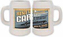 Keramik Bierkrug Garage Auto mieten Bedruckt Tankstelle