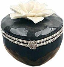 Keramik Dekoration Aufbewahrungsbox Herzförmige schwarze Schmuckschatulle, weiße Blume