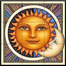 Keramik Fliesen - Celestial Dreamy Sun - von Dan