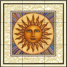 Keramik Fliesen - Celestial Sun mit Rahmen - von