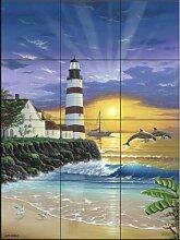 Keramik Fliesen - Dolphin Leuchtturm - von Jeff