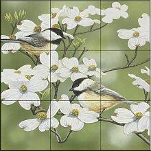Keramik Fliesen - Frühling und Chickadees- von