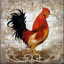 Keramik Fliesen - Hahn I - von Malenda Trick -
