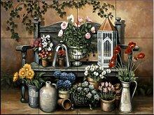 Keramik Fliesenbild - Blumenbank - von John