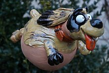 Keramik Gartenkugel Hund Handarbeit Gartenstecker