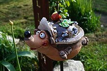 Keramik Gartenkugel Igel Tierfigur Gartenstecker Handarbei
