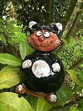 Keramik Gartenkugel Katze schwarz Gartenstab Kugel