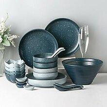 Keramik Geschirr Set, 28 Stück Retro Mattglasur