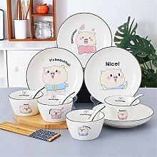 Keramik-Geschirr-Set, süßes Schwein, einfacher