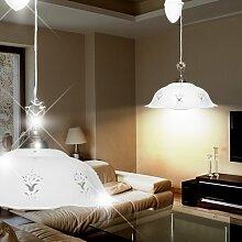 Keramik Hänge Leuchte Ø370mm/ Landhaus/ Rustikal/ Weiß/ Messing/ Pendel Lampe Porzellan Zug Hängelampe Hängeleuchte Pendellampe Pendelleuchte