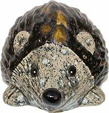 Keramik Igel schwarz-gold, mit Effekten, von Tangoo Gartendeko (L18 cm)