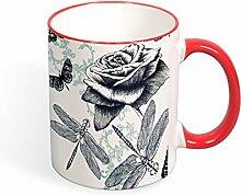 Keramik-Kaffeebecher Sketch Libelle und Blume,