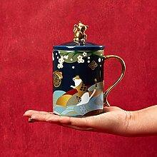 Keramik-Kaffeetasse mit Deckel und passende
