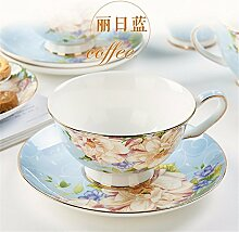 Keramik Kaffeetasse Sets Keramik Tasse Untertasse Cappuccino Becher Set Geschenkbox, D, 10,4 * 5.8Cm