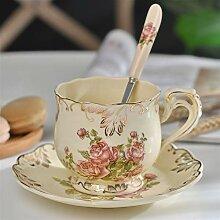Keramik Kaffeetasse Und Saucer Handbemalte Rose