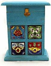 Keramik Kommode blau handbemalte Schübe und