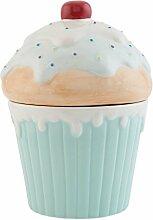 Keramik Kuchen Vorratsglas blau rot weiß beige 15cm x 21cm
