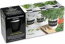 Keramik Küchenkräuter Topf-Set mit Kreide und