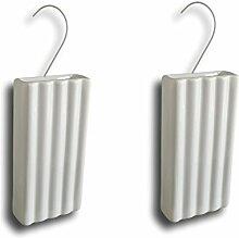 Keramik Luftbefeuchter Verdunster Wasserverdunster für Heizung Heizkörper Flachverdunster weiss gerillt mit Aufhänger (Menge: 2)