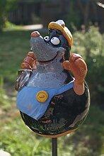 Keramik Maulwurf Handarbeit Gartenkugel Gartenstecker Dekoration Terrasse Figur