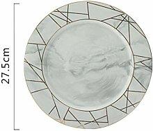 Keramik Moderne Einfache Golddraht Marmor Teller