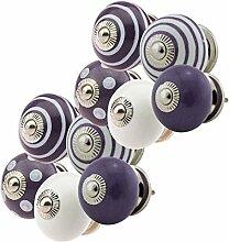 Keramik Möbelknopf Möbelknauf Möbelgriff Set JK0221 10er 756 lila Keramik Porzellan handbemalte Vintage Möbelknöpfe für Schrank, Schublade, Kommode, Tür
