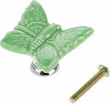 Keramik Schmetterling Form europäische Stil Schrank Schublade Kindermöbel Türknöpfe Türgriff Türknauf - grün