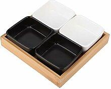 Keramik-Servierteller mit Unterteilungen Schwarz