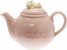 Keramik-Teekanne, rosa mit Kawaii-Bär-Charakter