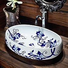 Keramik über Counter Basin Oval Blau und Weiß
