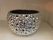 Keramik-Übertopf, Farbe silber, H:12 cm,