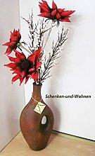Keramik - Vase mit Henkel , Antikbraun ca 46 x 25