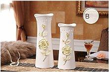 Keramik Vase Wohnzimmer Schlafzimmer Dekoration, Gelb, 2er Set für Mittelstücke Weihnachten Geburtstag Hochzeit Party Geschenk Desktop Home Decor