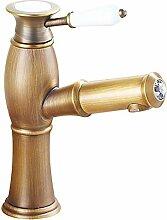 Keramik-Ventil-Mischbatterie Einzelnes Handgriff Ein Loch für antikes Messing-Badezimmer-Wannen-Hahn , bronze