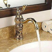 Keramik Ventil Wasserhahn Vintage Gold Waschbecken