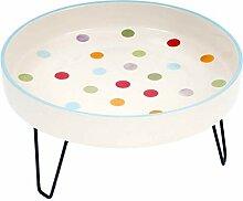 Keramik-Vogelbad auf Metallfuss (Spots & Dots)