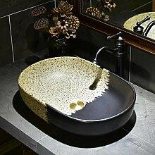 Keramik Waschbecken Kunst über Theke Becken oval
