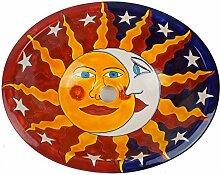 Keramik Waschbecken, Motiv: Eclipse, Sonne, Mond & Sterne, handbemalt, oval 44x36cm